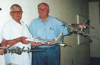 Jack Ribbach and Dennis Ybarra with a few models they aquired or built